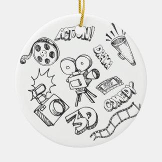 Doodles del entretenimiento adorno navideño redondo de cerámica