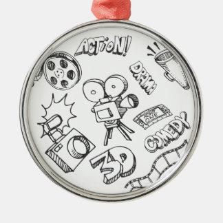 Doodles del entretenimiento adorno navideño redondo de metal