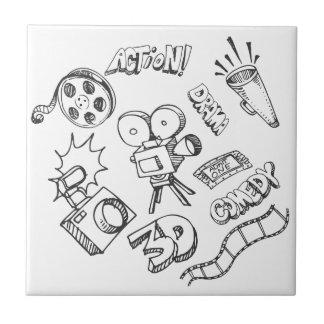 Doodles del entretenimiento azulejo cuadrado pequeño