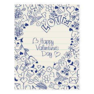 ¡Doodles felices del el día de San Valentín! Postales