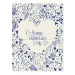 ¡Doodles felices del el día de San Valentín! Tarjetas Postales