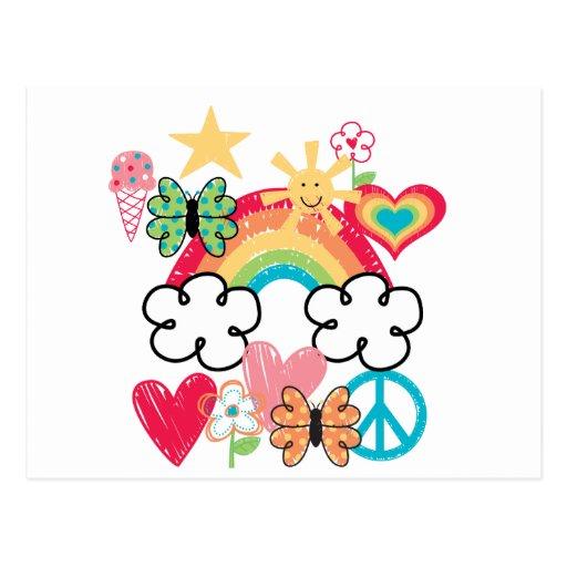 Doodles felices tarjeta postal