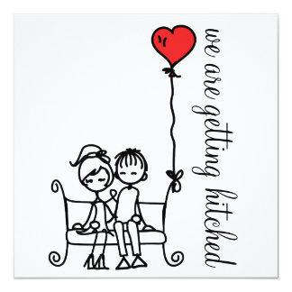 """Doodles lindos de novia y del novio que casan la invitación 5.25"""" x 5.25"""""""