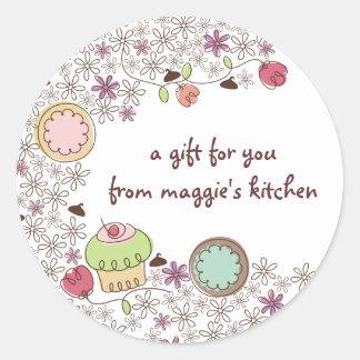 Doodles los dulces de la panadería de las flores etiquetas redondas