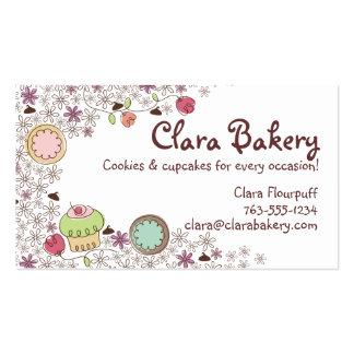 Doodles los dulces de la panadería de las flores tarjetas de visita