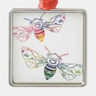Doodles multicolores de la abeja adorno navideño cuadrado de metal