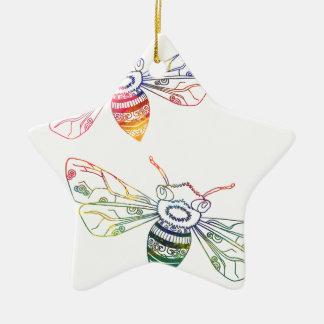 Doodles multicolores de la abeja adorno navideño de cerámica en forma de estrella
