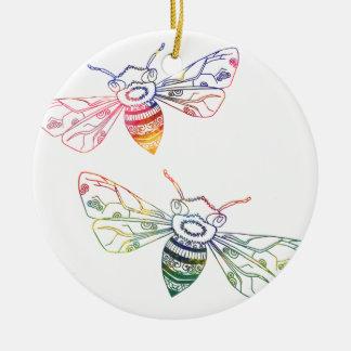 Doodles multicolores de la abeja adorno navideño redondo de cerámica