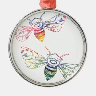 Doodles multicolores de la abeja adorno navideño redondo de metal
