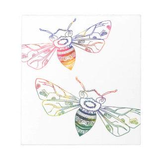 Doodles multicolores de la abeja bloc de papel