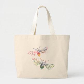 Doodles multicolores de la abeja bolsa tela grande