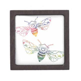 Doodles multicolores de la abeja cajas de recuerdo de calidad