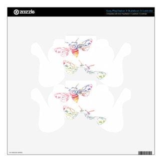 Doodles multicolores de la abeja calcomanía para mando PS3