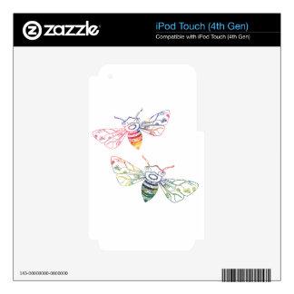 Doodles multicolores de la abeja calcomanías para iPod touch 4G