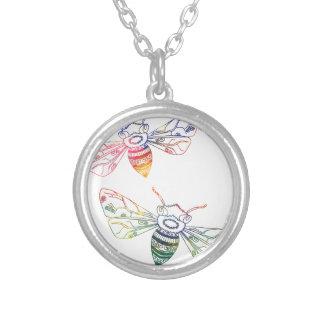 Doodles multicolores de la abeja colgante redondo