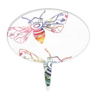 Doodles multicolores de la abeja decoraciones para tartas