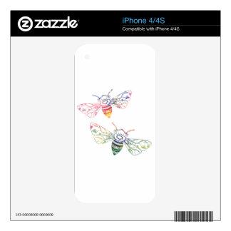 Doodles multicolores de la abeja iPhone 4 calcomanía