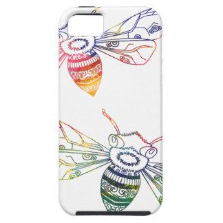 Doodles multicolores de la abeja iPhone 5 fundas