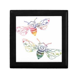 Doodles multicolores de la abeja joyero cuadrado pequeño