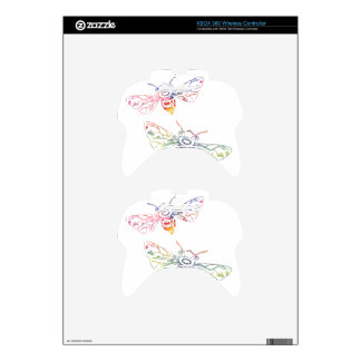 Doodles multicolores de la abeja mando xbox 360 skin