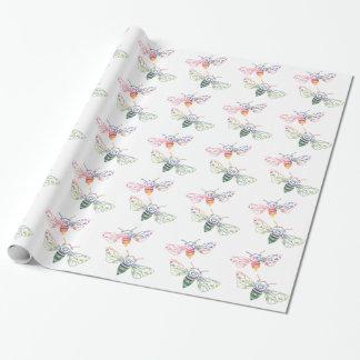 Doodles multicolores de la abeja papel de regalo