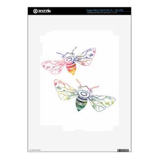 Doodles multicolores de la abeja pegatina skin para iPad 3