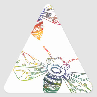 Doodles multicolores de la abeja pegatina triangular