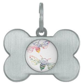 Doodles multicolores de la abeja placa de nombre de mascota
