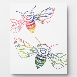 Doodles multicolores de la abeja placas de madera