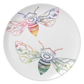 Doodles multicolores de la abeja platos de comidas