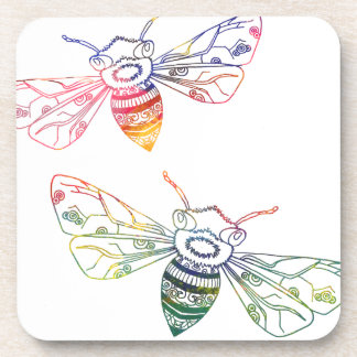 Doodles multicolores de la abeja posavasos de bebida