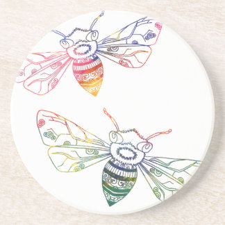 Doodles multicolores de la abeja posavasos para bebidas