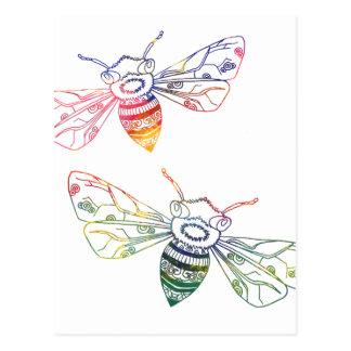 Doodles multicolores de la abeja postales