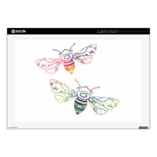 Doodles multicolores de la abeja skins para portátil