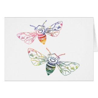 Doodles multicolores de la abeja tarjeta de felicitación
