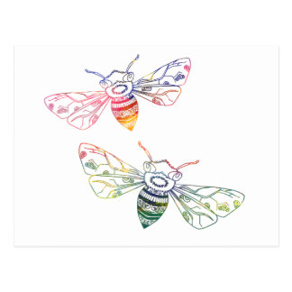 Doodles multicolores de la abeja tarjetas postales