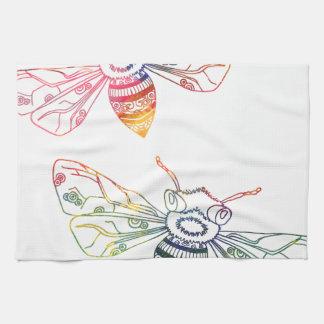 Doodles multicolores de la abeja toalla de cocina