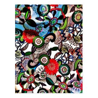 Doodles multicolores enrrollados de Swirly Postales