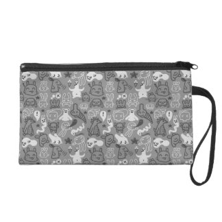 doodles pattern illustration wristlet