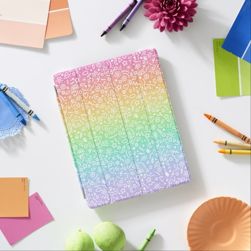 Doodles Rainbow Gradient iPad Smart Cover