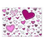 Doodles rosas claros y de Purple Heart preciosos Invitación 13,9 X 19,0 Cm