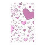 Doodles rosas claros y de Purple Heart preciosos Plantilla De Tarjeta De Visita