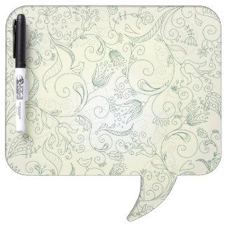 Doodles verdes de la flor y del pájaro de Paisley Pizarra