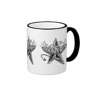 Doolin funciona con el logotipo en negro y blanco taza