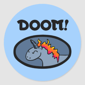 Doom Unicorn Classic Round Sticker