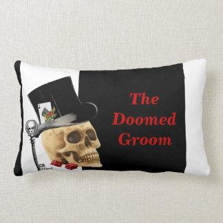 Doomed groom gothic gambling skull pillow