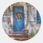Door - A bit of blue Round Stickers