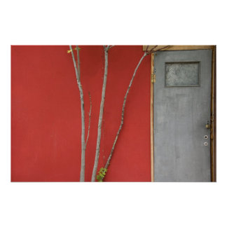 door and tree branches poster