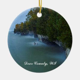 Door County Cave Point Cliffs Ceramic Ornament