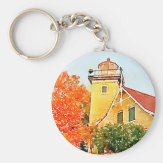 Door County Eagle Bluff Lighthouse Watercolor Keychain